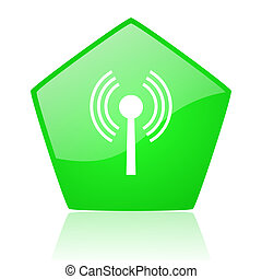 wifi green pentagon web glossy icon