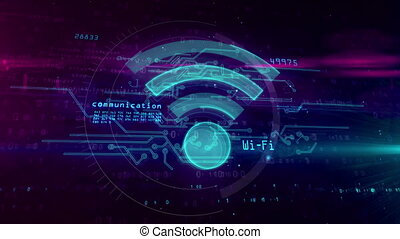 Wifi, wireless communication and hotspot symbol on digital background. 3D hologram with wi-fi sign, code and glitch effect. Abstract concept animation.