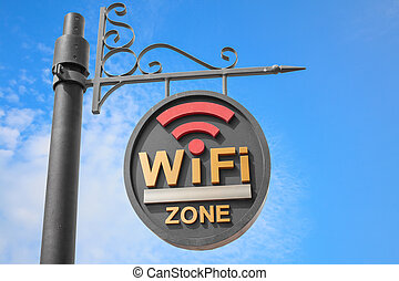 WiFi hotspot sign pole