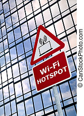 WiFi Hotspot sign - Wireless technology concept image of a...