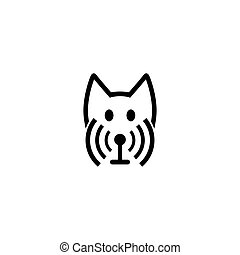 WiFi icon and dog vector illustration