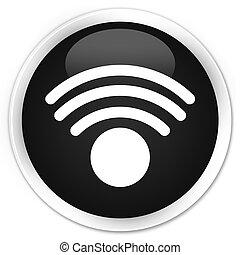 Wifi icon black glossy round button