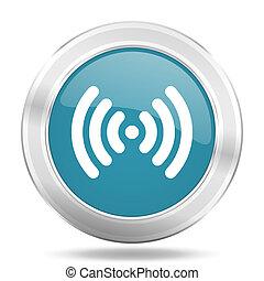 wifi icon, blue round glossy metallic button, web and mobile app design illustration