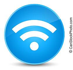 Wifi icon elegant cyan blue round button