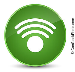 Wifi icon elegant soft green round button