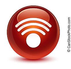 Wifi icon glassy brown round button