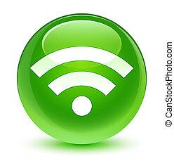 Wifi icon glassy green round button