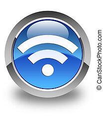Wifi icon glossy blue round button 2