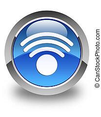 Wifi icon glossy blue round button