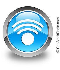 Wifi icon glossy cyan blue round button