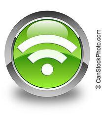 Wifi icon glossy green round button 2