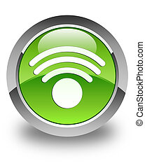 Wifi icon glossy green round button
