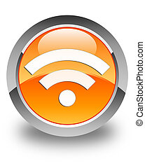Wifi icon glossy orange round button 2