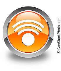 Wifi icon glossy orange round button