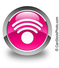 Wifi icon glossy pink round button