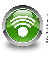 Wifi icon glossy soft green round button