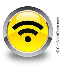 Wifi icon glossy yellow round button