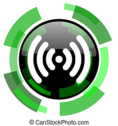 wifi icon, green modern design isolated button, web and mobile app design illustration
