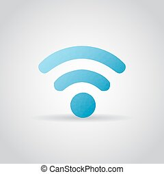 WiFi icon in polygonal style on a gray background