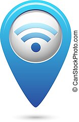 Wifi icon on blue map pointer