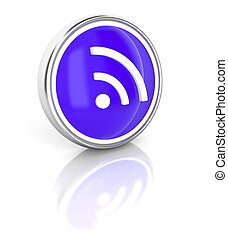 WiFi icon on glossy blue round button