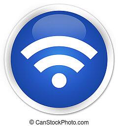 Wifi icon premium blue round button