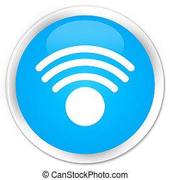 Wifi icon premium cyan blue round button