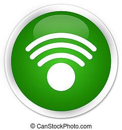 Wifi icon premium green round button