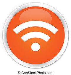Wifi icon premium orange round button