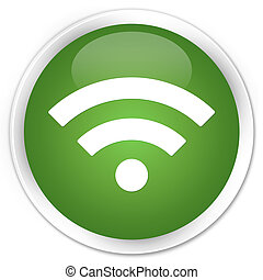 Wifi icon premium soft green round button