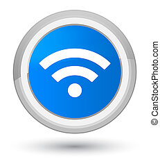 Wifi icon prime cyan blue round button