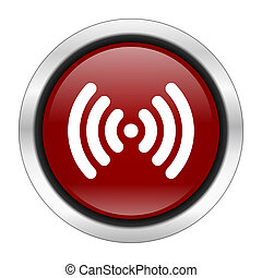 wifi icon, red round button isolated on white background, web design illustration
