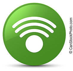 Wifi icon soft green round button