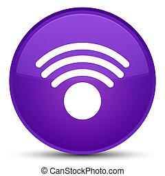 Wifi icon special purple round button
