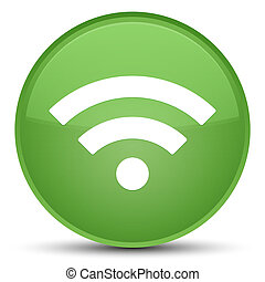 Wifi icon special soft green round button