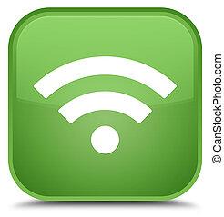 Wifi icon special soft green square button