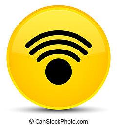 Wifi icon special yellow round button