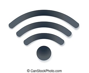 wifi icon with shadow vector illustration. free wi-fi hotspot symbol on white. vector