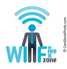 wifi icon with shadow vector illustration. free wi-fi zone and a man symbol on white. vector