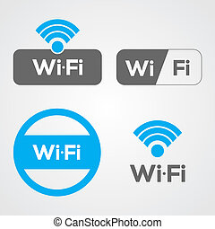 Wifi Icons - Set of four WiFi icons for business or...