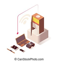 Wifi Internet vector isometric illustration. Online hosting, server, computer hardware equipment and IoT technologies. Wireless connection, networking, database storage isolated 3d