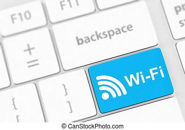 wifi, llave computadora, entrar, conceptos, mensaje, keyboard.