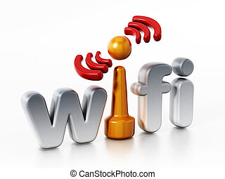 Wifi logo and wireless connection symbol. 3D illustration