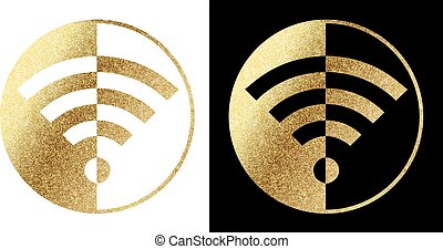wifi logo in golden