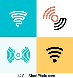 Wifi logo set. Wifi zone - vector graphics, modern flat...