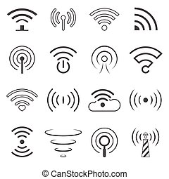 WiFi Logo Vector Elements. Wireless technology concept signs in line style