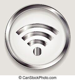 wifi, métal, vecteur, technologie, conception, argent, icône