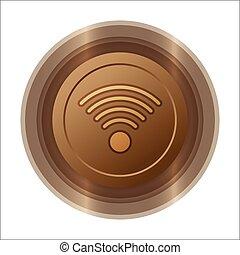 wifi metallic copper button icon