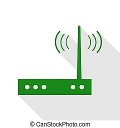 Wifi modem sign. Green icon with flat style shadow path.