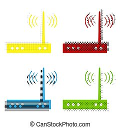 Wifi modem sign. Vector. Yellow, red, blue, green icons with the